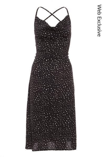 Black Polka Dot Satin Midi Dress